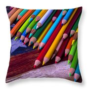 Colored Pencils On Wooden Flag Throw Pillow