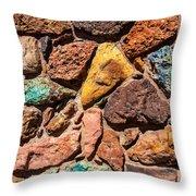 Colored Stone Rock Church Wall - Cedar City - Utah Throw Pillow
