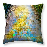 Colored Stones And Lichen Covered Bridge Throw Pillow