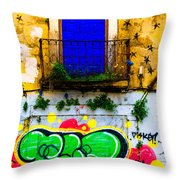 Colored Wall Throw Pillow