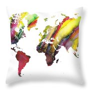 Colored World Map Throw Pillow