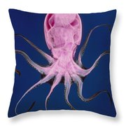 Colored X-ray Of An Unidentified Octopus Throw Pillow