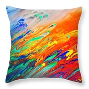 Colorful Abstract Acrylic Painting Throw Pillow
