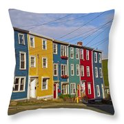 Colorful Apartment Buildings In Saint John's-nl Throw Pillow