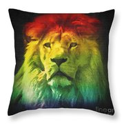 Colorful Artistic Portrait Of A Lion On Black Background  Throw Pillow
