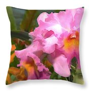 Colorful Assorted Cattleya Orchids Throw Pillow