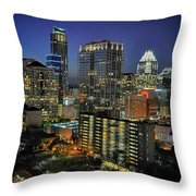 Colorful Austin Skyline At Night Throw Pillow