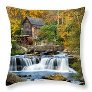 Colorful Autumn Grist Mill Throw Pillow