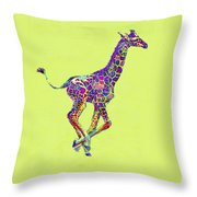 Colorful Baby Giraffe Throw Pillow