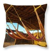 Colorful Beach Hammocks Throw Pillow