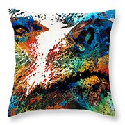 Colorful Bear Art - Bear Stare - By Sharon Cummings Throw Pillow