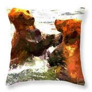 Colorful Bears Throw Pillow