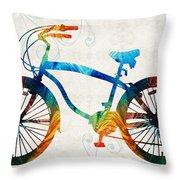 Colorful Bike Art - Free Spirit - By Sharon Cummings Throw Pillow