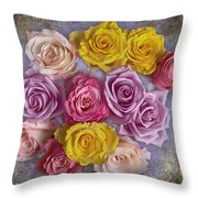 Colorful Bouquet Of Roses Throw Pillow