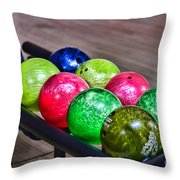 Colorful Bowling Balls Throw Pillow