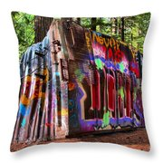 Colorful Box Car In The Forest Throw Pillow