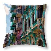 Colorful Buildings In Havana Throw Pillow