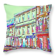 Colorful Buildings Throw Pillow