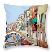 Colorful Canal Throw Pillow