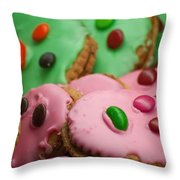 Colorful Candy Faces Throw Pillow