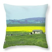 Colorful Canola Field Throw Pillow