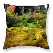 Colorful Carpet Of Moss In Benmore Botanical Garden Throw Pillow