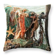Colorful Catch - Starfish In Fishing Nets Throw Pillow