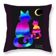 Colorful Cats And The Moon Throw Pillow