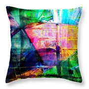 Colorful Cd Cases Collage Throw Pillow