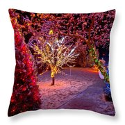 Colorful Christmas Lights On Trees Throw Pillow