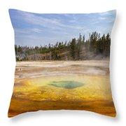 Colorful Chromatic Geyser In Upper Geyser Basin Throw Pillow
