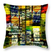 Colorful City Scene Throw Pillow