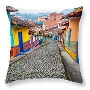Colorful Cobblestone Street Throw Pillow