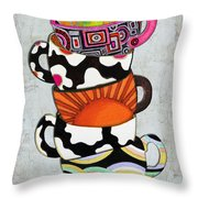 Colorful Coffee Cups Mugs Hot Cuppa Stacked I By Romi And Megan Throw Pillow by Megan Duncanson