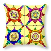 Colorful Collage Of Fractals Throw Pillow