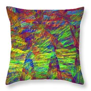 Colorful Computer Generated Abstract Fractal Flame Throw Pillow