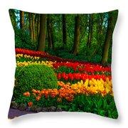 Colorful Corner Of The Keukenhof Garden 4. Tulips Display. Netherlands Throw Pillow