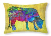 Colorful Cow Abstract Art Throw Pillow