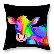 Colorful Cow-cow-a-bunga Throw Pillow by Nick Gustafson