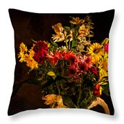 Colorful Cut Flowers In A Vase Throw Pillow
