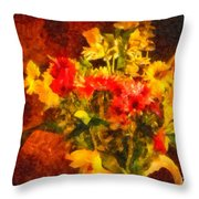 Colorful Cut Flowers - V2 Throw Pillow