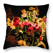 Colorful Cut Flowers - V3 Throw Pillow