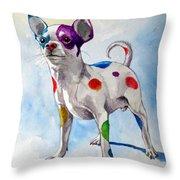 Colorful Dalmatian Chihuahua Throw Pillow