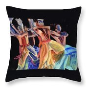 Colorful Dancers Throw Pillow
