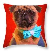 Colorful Dapper Pug Throw Pillow