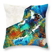 Colorful Dog Art - Loving Eyes - By Sharon Cummings  Throw Pillow