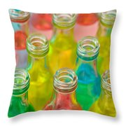 Colorful Drink Bottles Throw Pillow