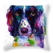 Colorful English Springer Setter Spaniel Dog Portrait Art Throw Pillow