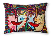Colorful Faces Gazing - Ink Abstract Faces Throw Pillow