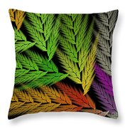 Colorful Feather Fern - Abstract - Fractal Art - Square - 1 Tl Throw Pillow
